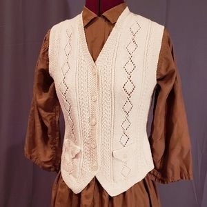 Vintage cream hand knit vest
